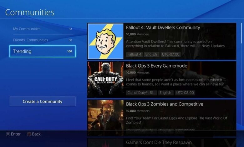 Sony lukker ned for PlayStation Communities på PS4